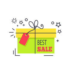 Special offer promo sticker shopping packed box vector