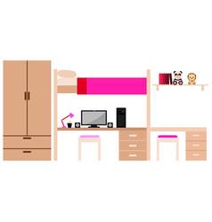 Student dorm room vector