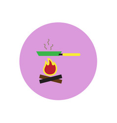 Stylish icon in circle pan with fire vector