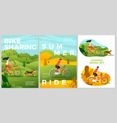 summer posters set - bike riding activities vector image