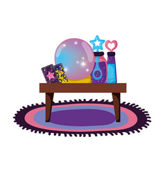 Table wooden with witchcraft items vector