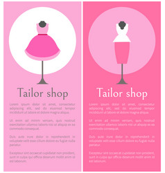tailor shop promotional posters with mannequins vector image
