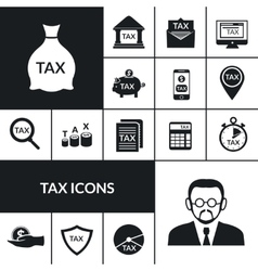 Tax Symbols Black Icons Composition Banner vector