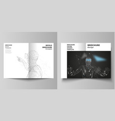 The layout of two a4 format cover mockups vector