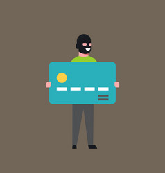 thief hold bank credit card man in mask stolen vector image
