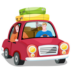 travel car in search new adventures happy vector image