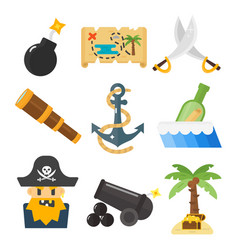 Treasures pirate adventures toy accessories icons vector