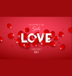 valentines day sale love message white color vector image