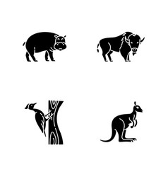 various animals black glyph icons set on white vector image