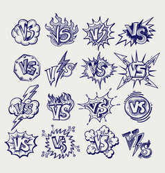 versus ballpoint pen sketch labels collection vector image