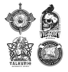 Viking vintage labels set vector