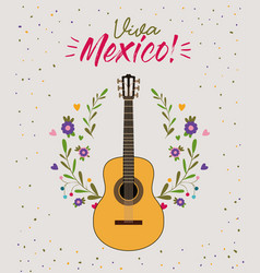 viva mexico colorful poster with guitar in closeup vector image