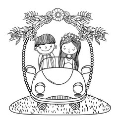 wedding couple marriage cute cartoon black and vector image