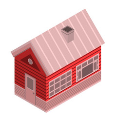 Winter wood house icon isometric style vector
