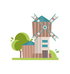 wooden mill building on a vector image