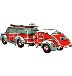 Wooden Station Wagon trailer vector