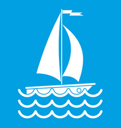 Yacht icon white vector