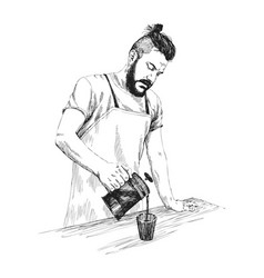 young barista man in apron with a beard holds a vector image