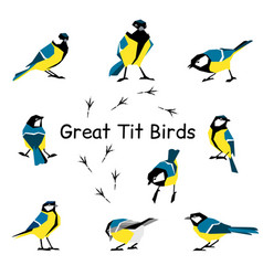 bird icon collection vector image