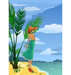 Elegant lady in hat and long dress on beach vector image vector image