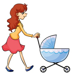 A woman and baby buggy vector image vector image