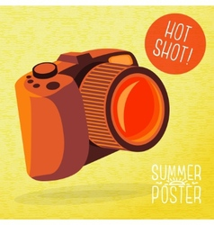 Cute summer poster - photo camera shots with vector image vector image