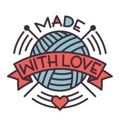 Handmade needlework badge logo vector image