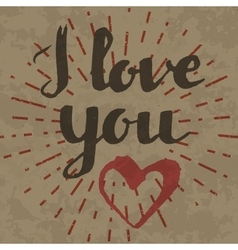 I love you inscription on retro background vector image vector image