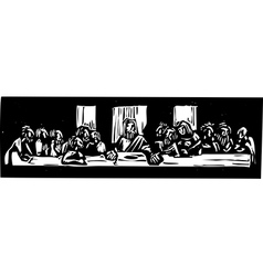 Last Supper Woodcut vector image vector image
