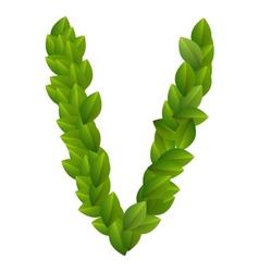 Letter V of green leaves alphabet vector image