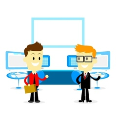 Man Introducing Office Studio to a New Employee vector image vector image