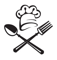 spoon fork and chef hat vector image vector image