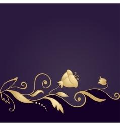 Golden floral ornament on purple background vector image