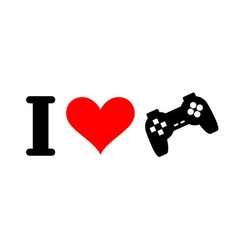 I love games Heart and gamepad Logo for players in vector image