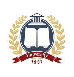 University heraldic insignia for education design vector image vector image