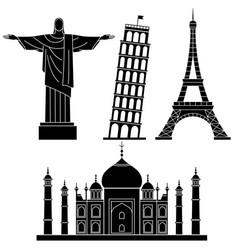 world landmarks leaning tower of pisa eiffel vector image vector image