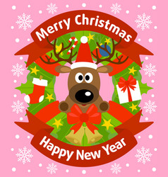 christmas and new year background card with deer vector image