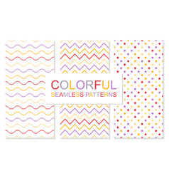 Colorful simple seamless patterns bright vector