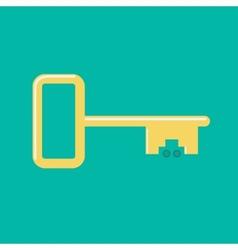 Golden car key wheel icon Flat design Green vector image