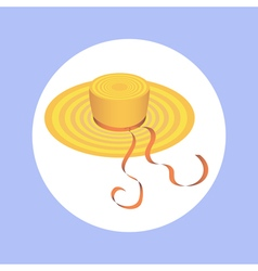 hat with ribbon in circle vector image vector image
