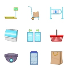 Retail store equipment icons set cartoon style vector