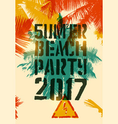 summer beach party typographic grunge poster vector image vector image