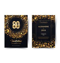 80th years birthday black paper luxury vector