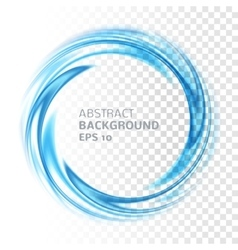 Abstract blue swirl circle on transparent vector