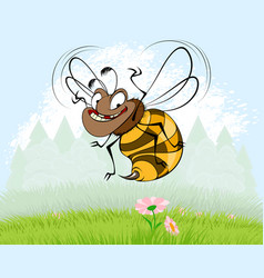 Bee on background of nature vector