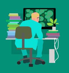 biologist working on the computer vector image