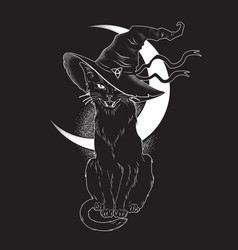 Black cat with pointy witch hat line art vector