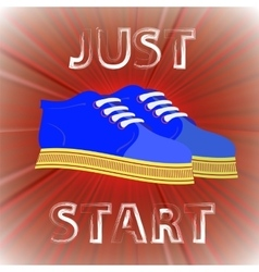 Blue shoes banner with positive quote vector