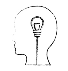 Brain and lightbulb bright idea icon image vector
