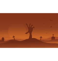 Brown backgrounds Halloween hand zombie silhouette vector image